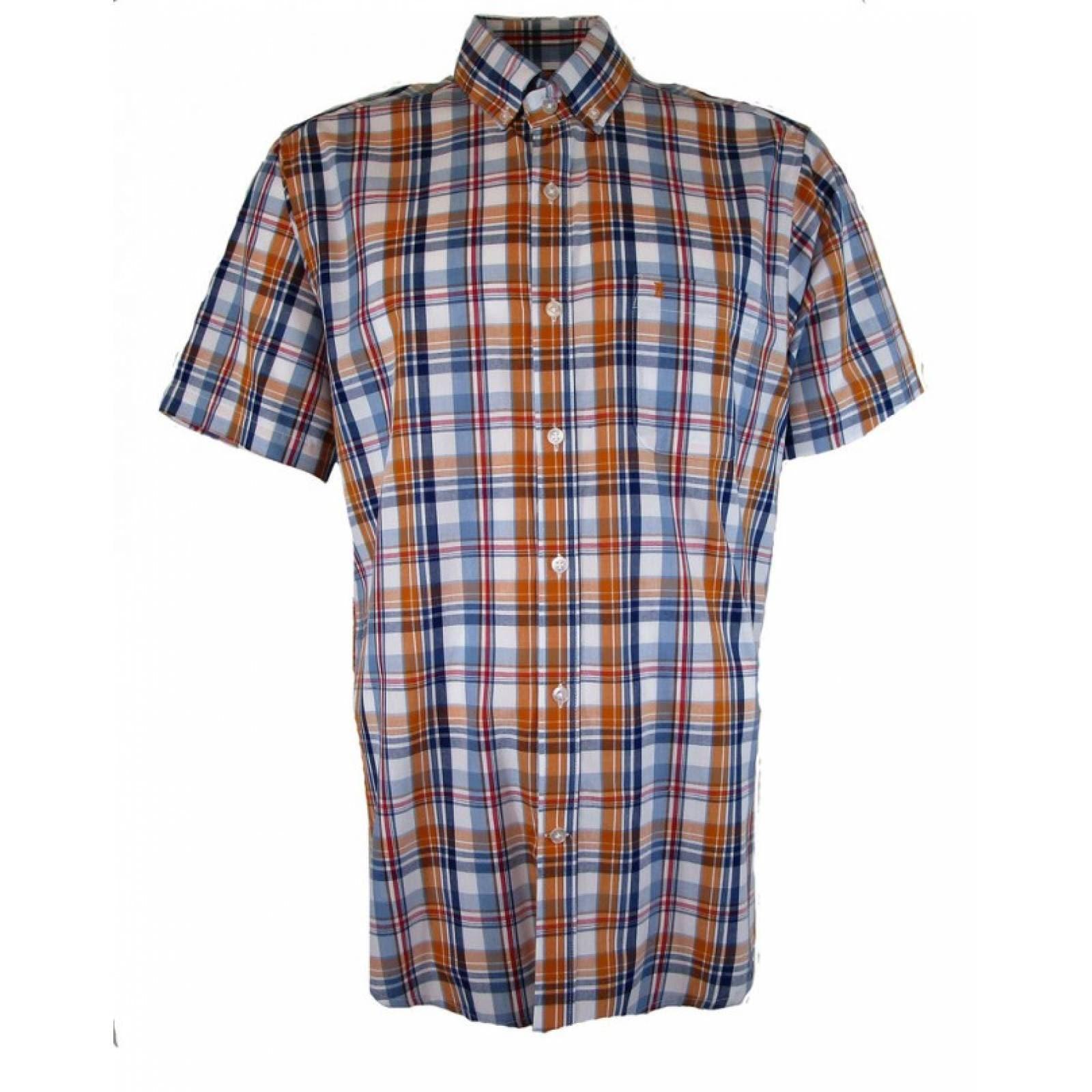 Camisa Dioro;Manga Corta;Cuadros;Naranjas ; Mediana
