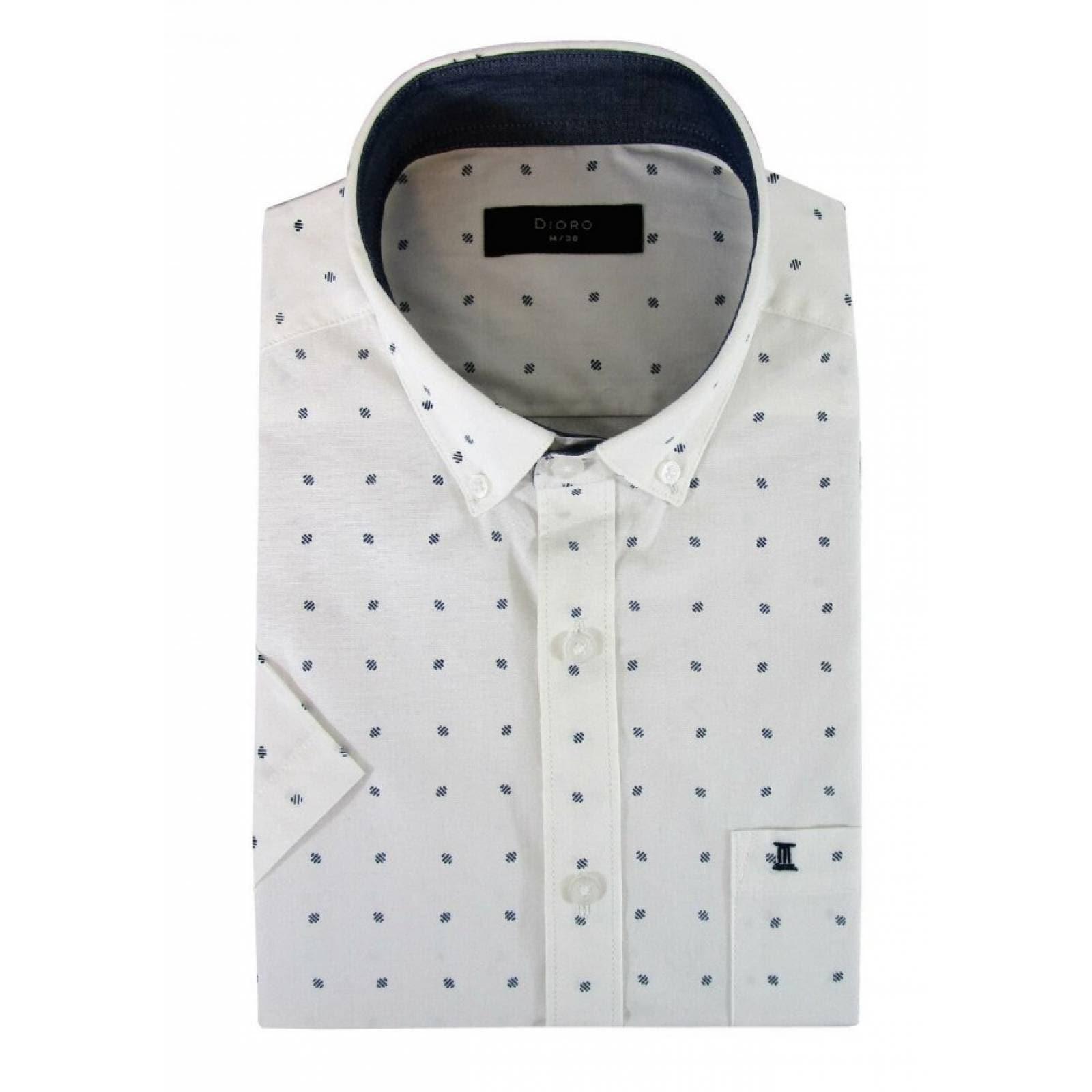 Camisa Dioro;Manga Corta;Estampado Azul ;Mediana
