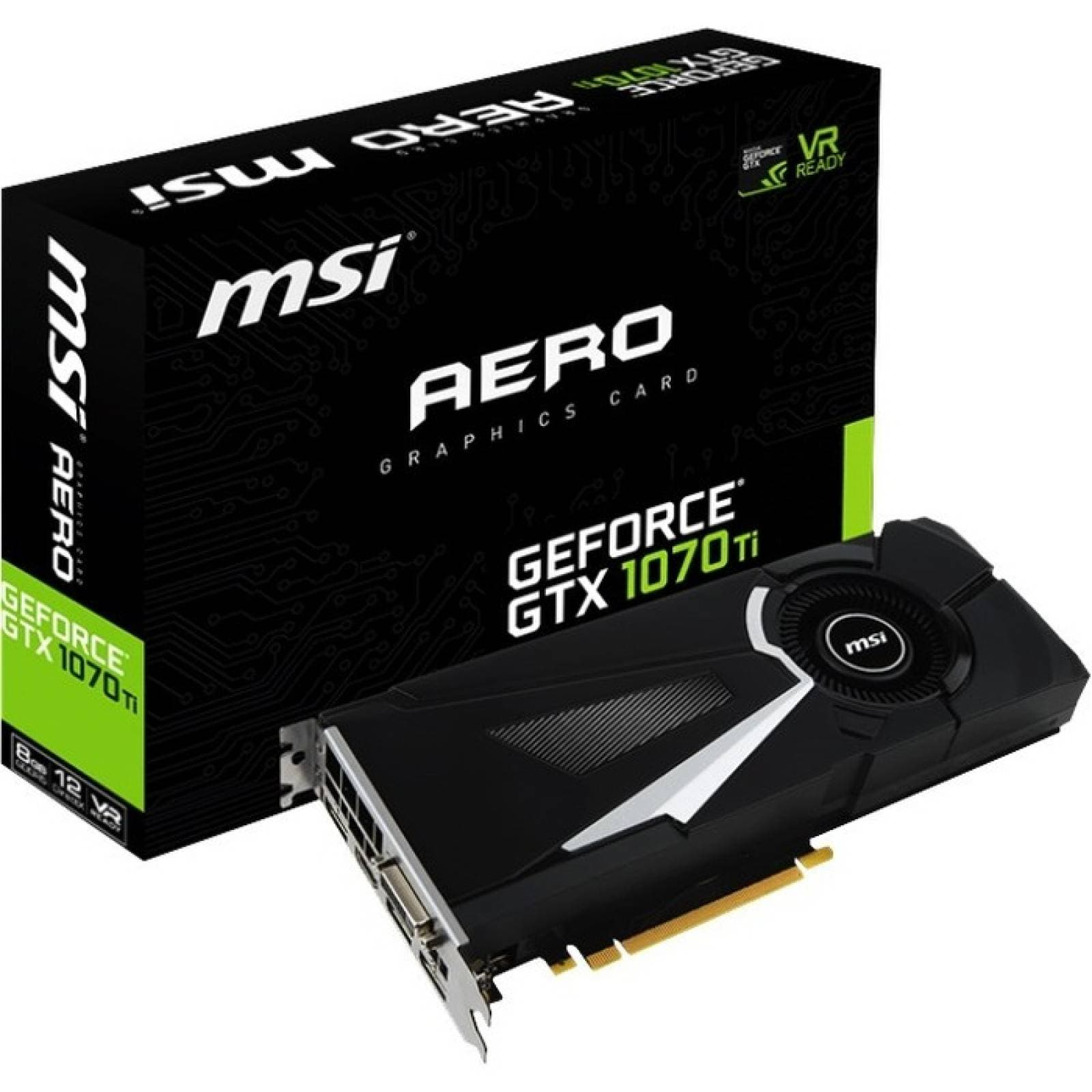 MSI AERO GTX 1070 Ti AERO 8G Tarjeta grfica GeForce GTX 1070  Ncleo de 161 GHz  Reloj de aumento de 168 GHz  8 GB