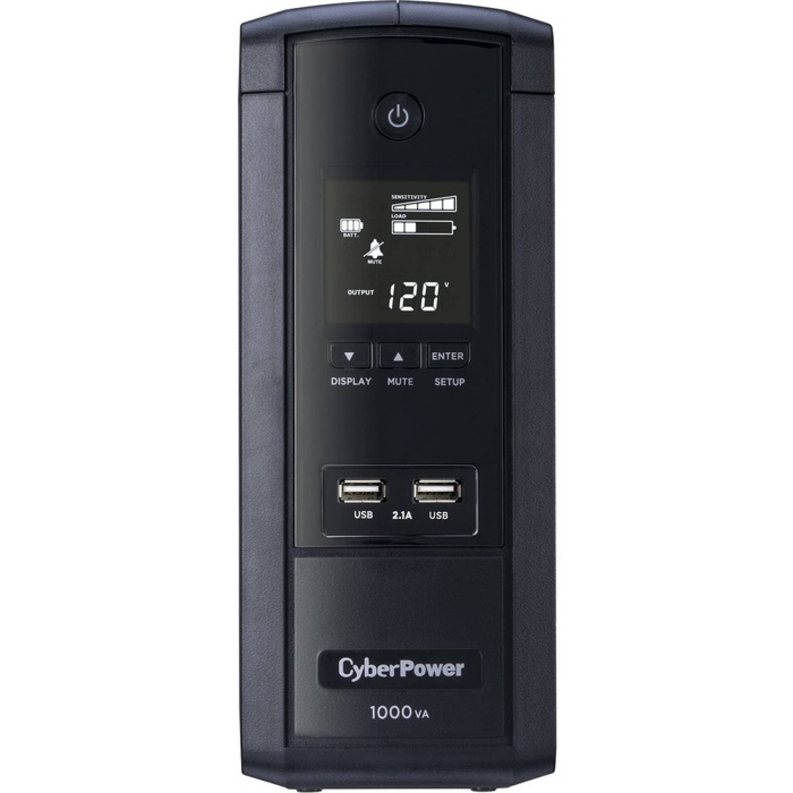 CyberPower 1000VA BRG1000AVRLCD UPS con 600W AVR LCD y 21 USB de carga