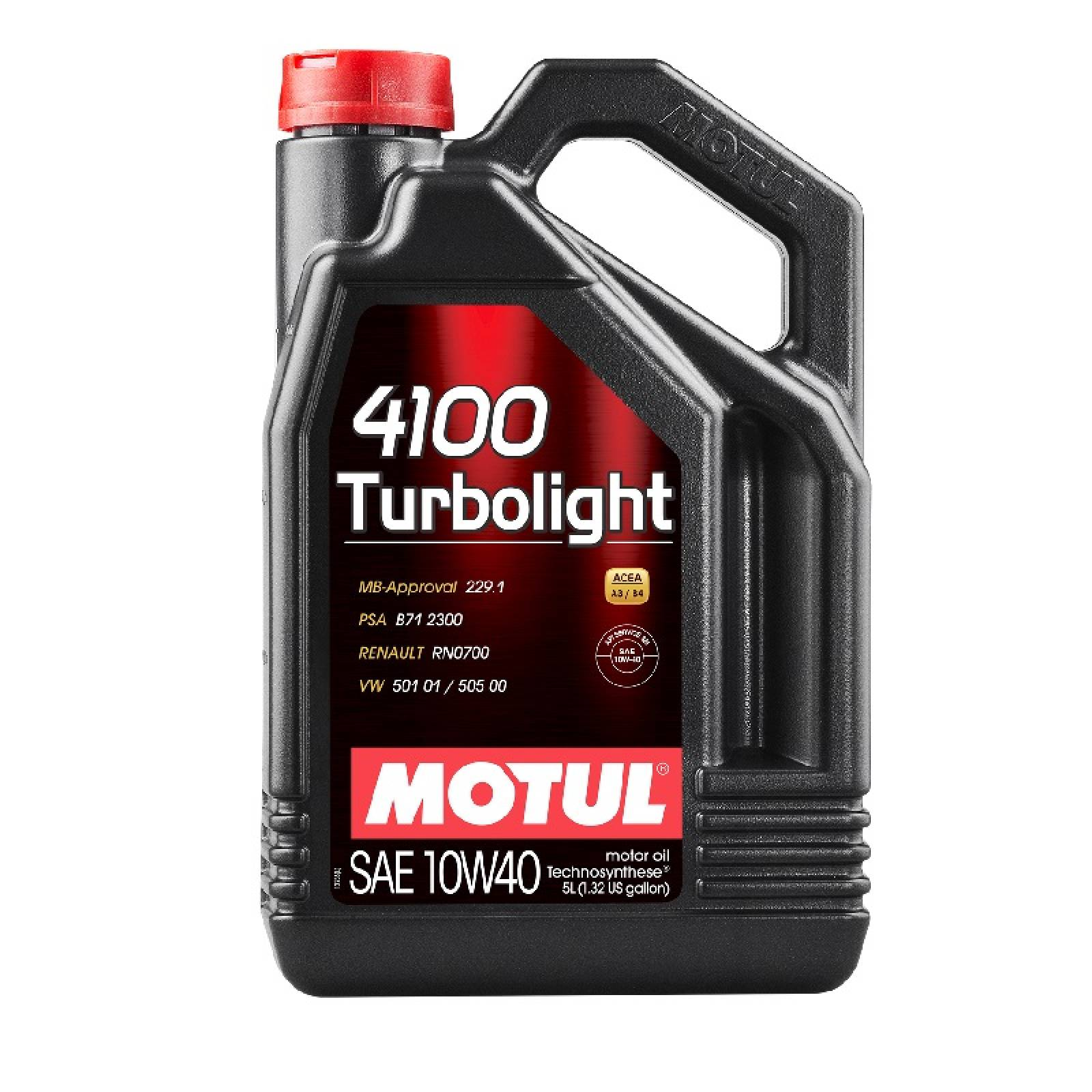 Aceite Motor Technosynthese Motul 4100 Turbolight 10W40  5 Litros
