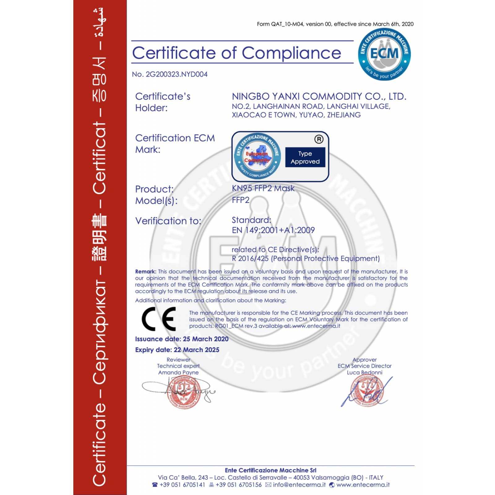 Cubrebocas KN95 Doble Válvula Filtro 5 Capas FDA CE Certificado