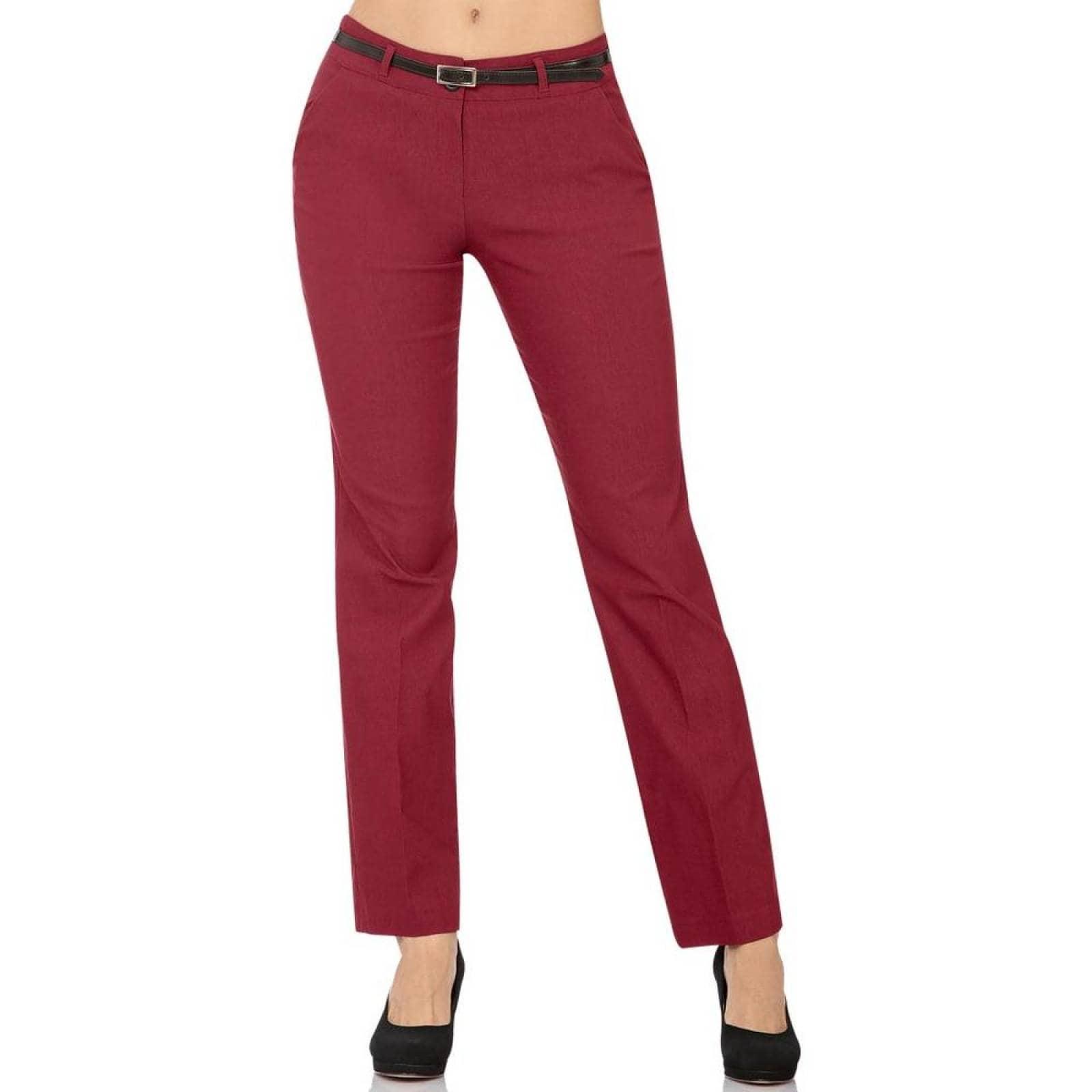 Pantalon De Vestir Barbary Mujer Vino Spandex J-987