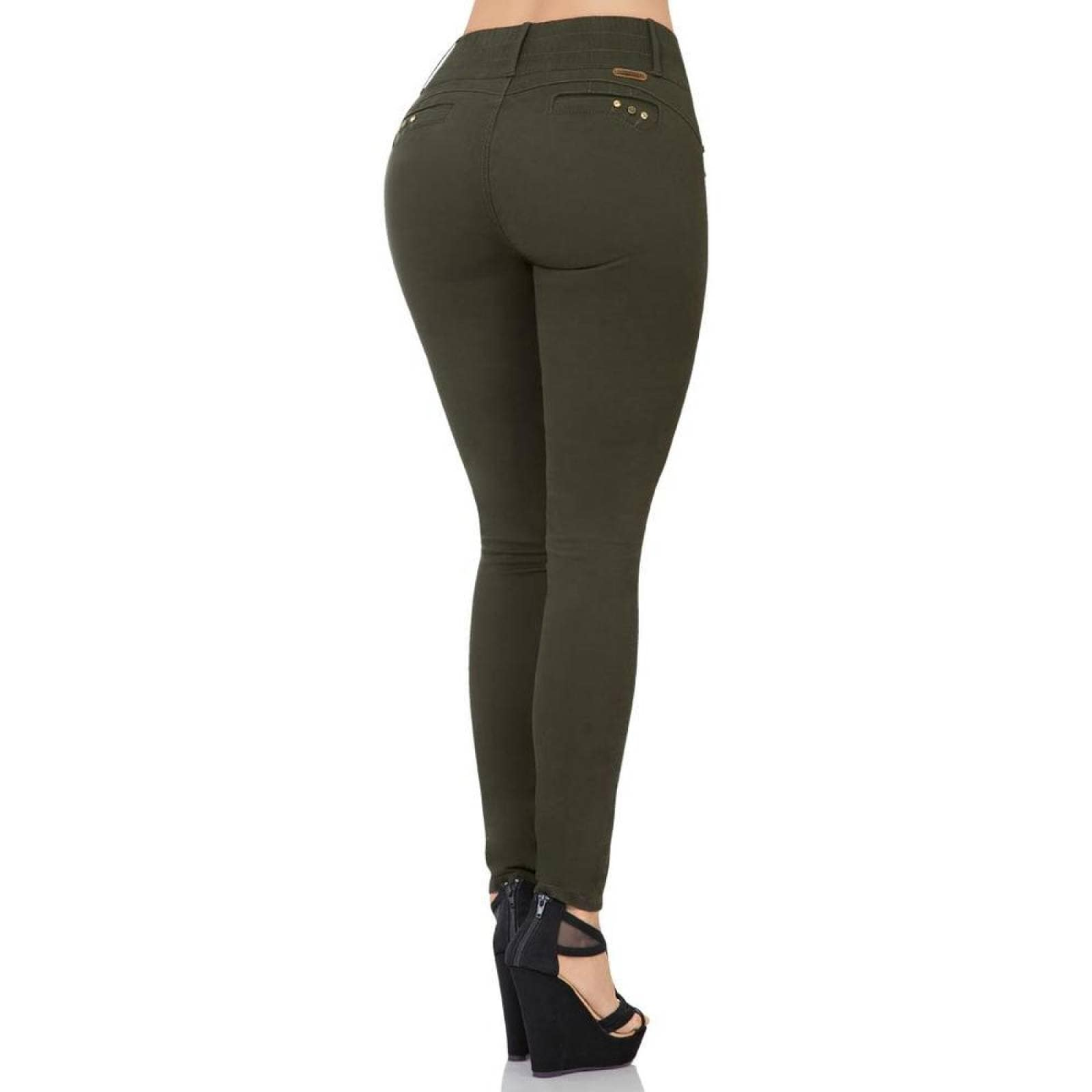 Pantalon Fergino Jeans Mujer Verde GabardinaStretch 284Salv