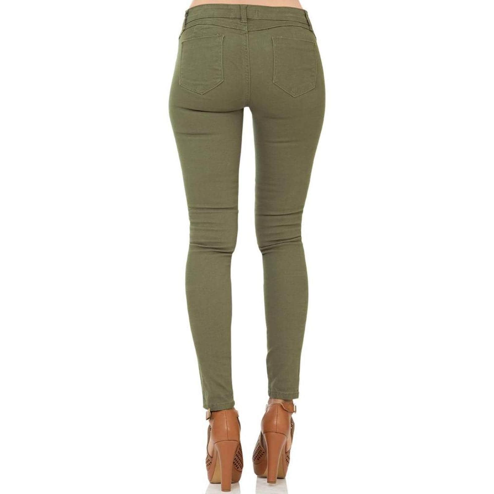 Pantalon Disparate Jeans Mujer Verde GabardinaStretch 4000