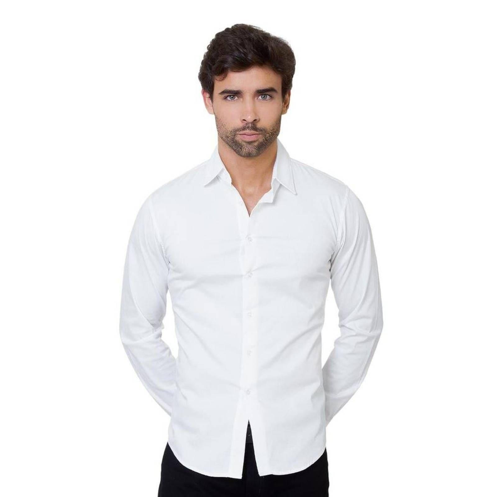 Camisa Casual Palassi Men Hombre Blanco Spandex Cs 014