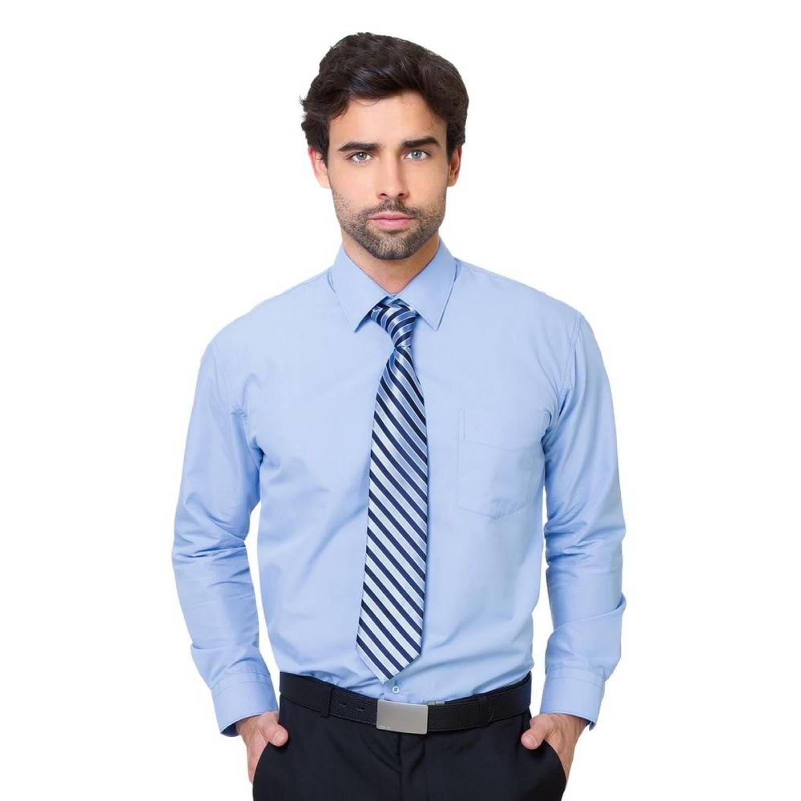 Camisa Vestir Aristos Hombre Azul Algodon Poliester 3005