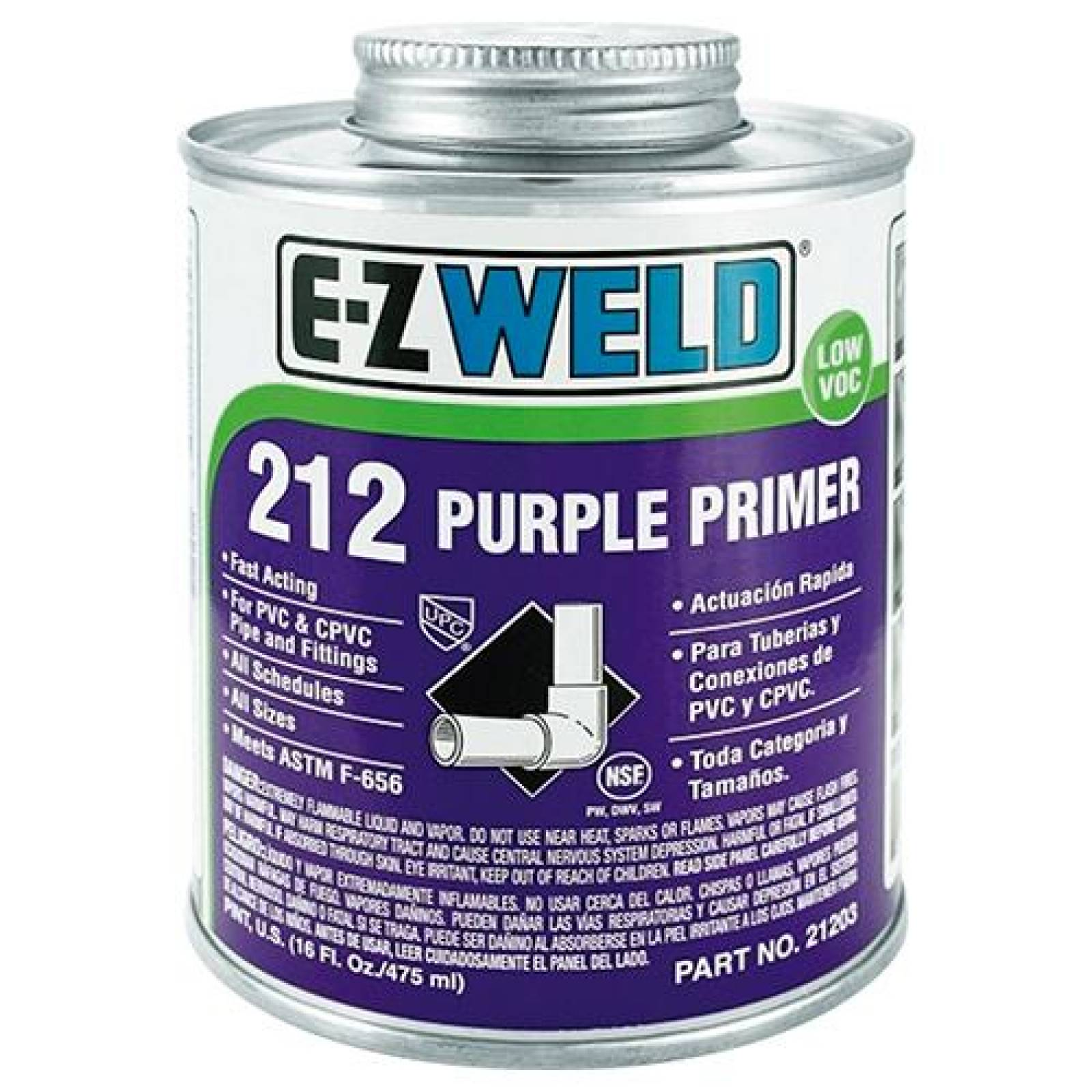 Primer limpiador PVC y CPVC mod 212 EZ WELD 240ml