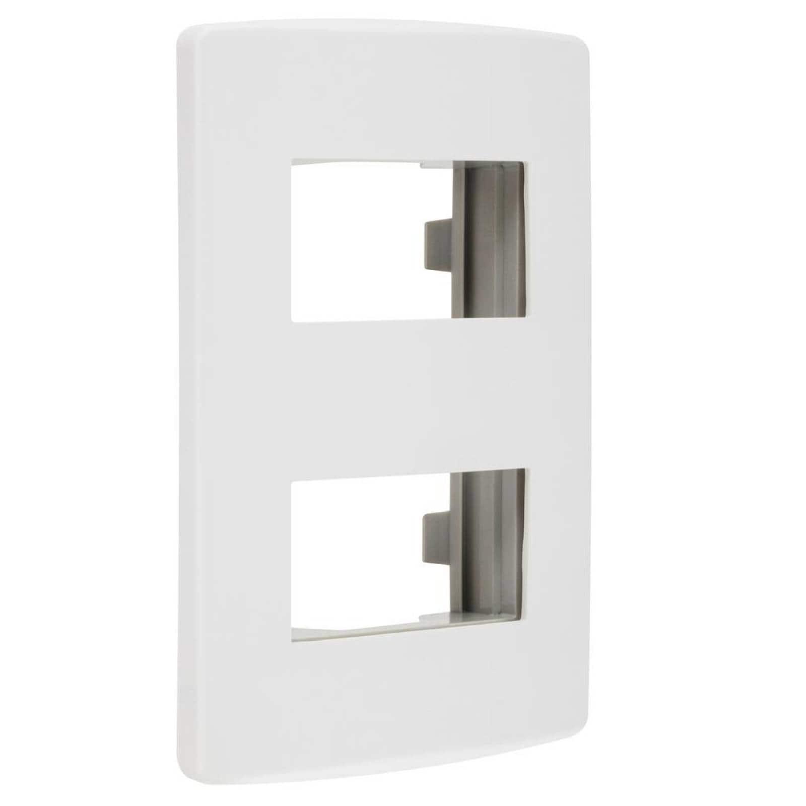 Placa Scudetto Prime de 2 ventanas blanco brillante
