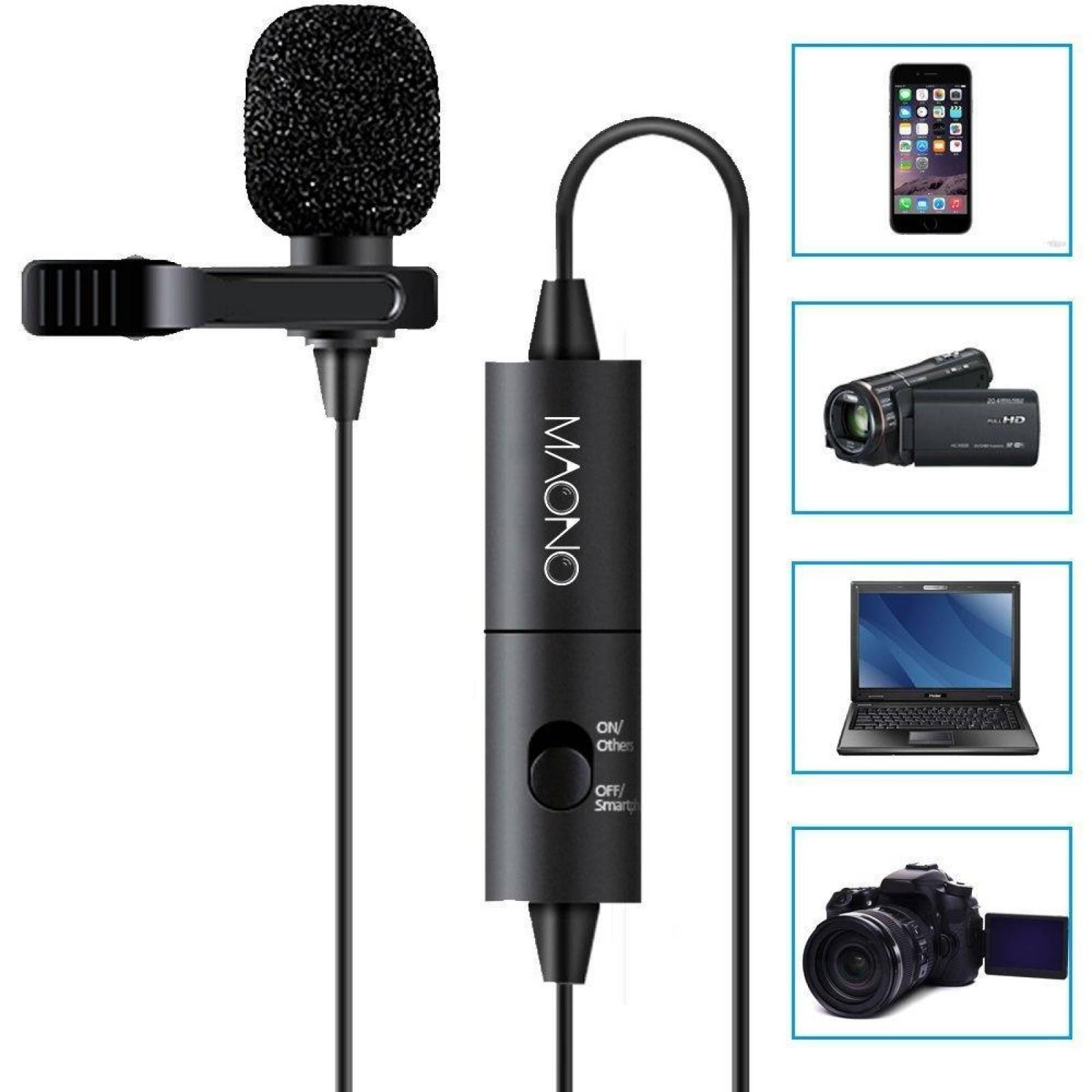 Micrófono AU100 Lavalier 7 Basic Maono Ultra Ligero Negro