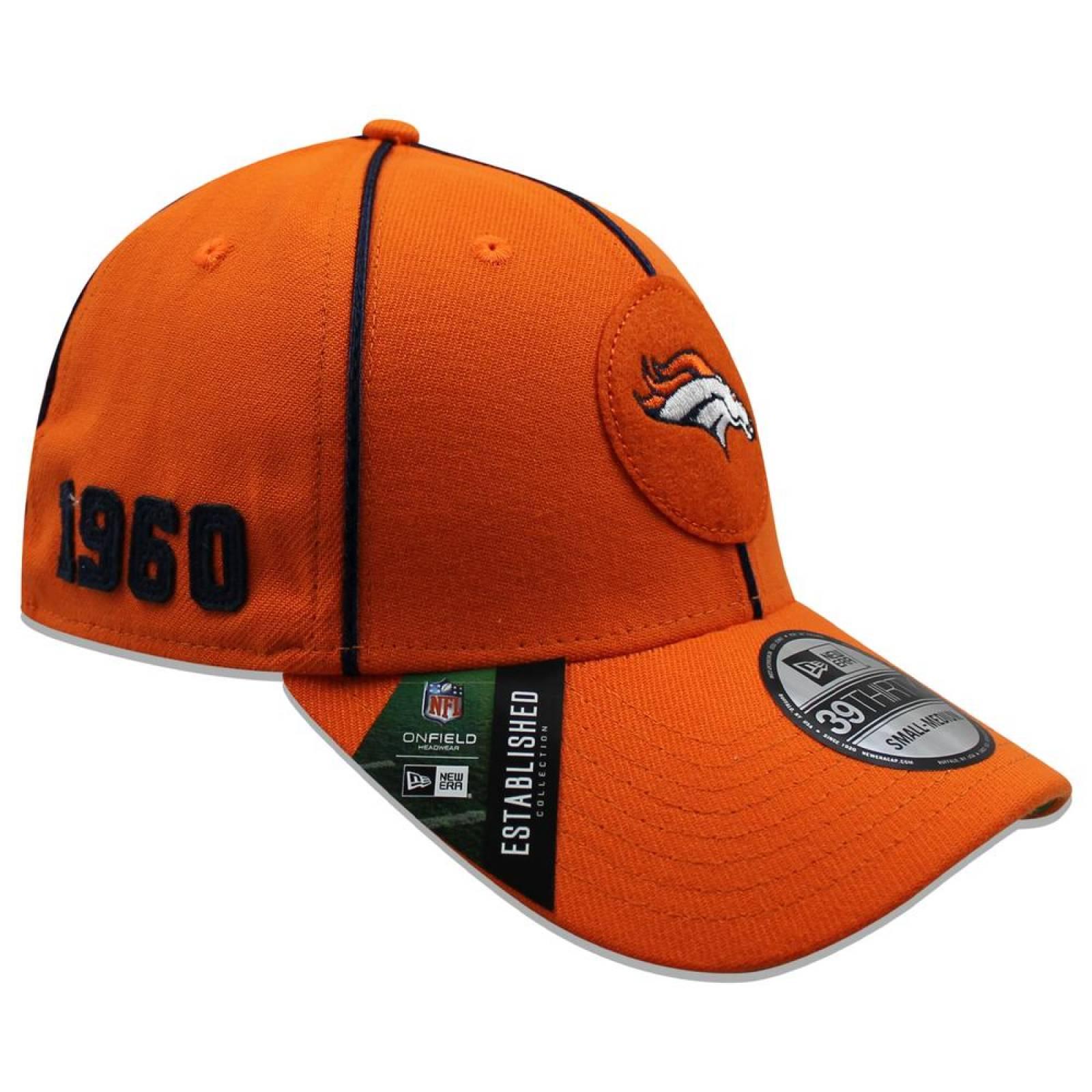 Gorra New Era 39 Thirty NFL Broncos Sideline Established Home Naranja