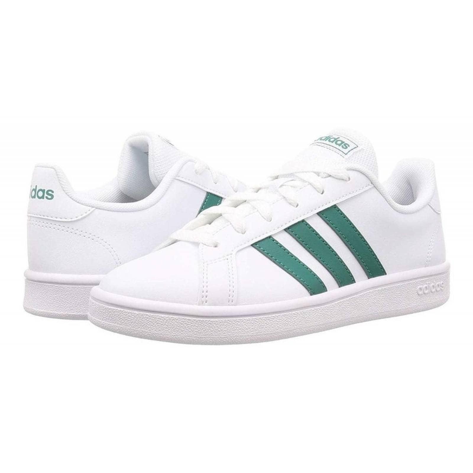 Tenis Adidas Grand Court Base EE7905 Blanco Franjas Verdes Hombre