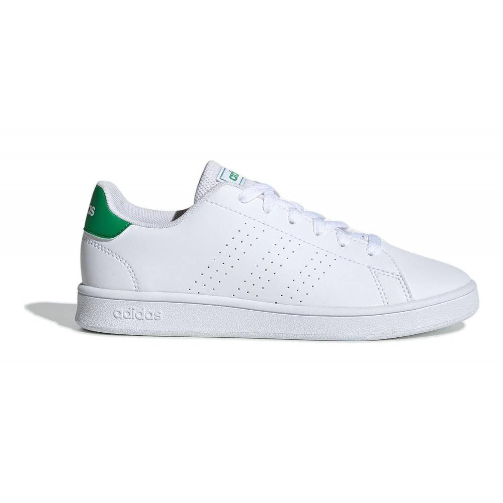 amargo Línea del sitio calculadora  Tenis Adidas Advantage EF0213 Blanco con Verde Jóvenes