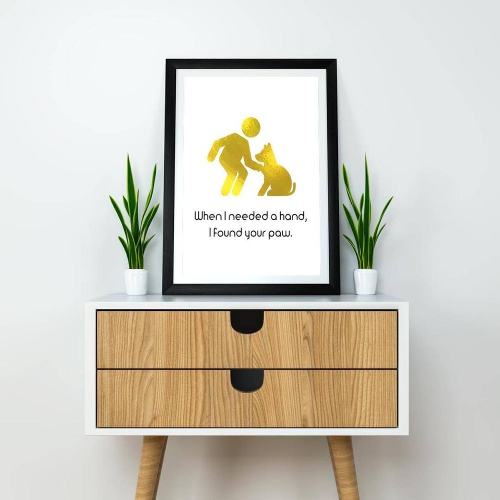 Poster Decorativo Your paw Negro y Dorado