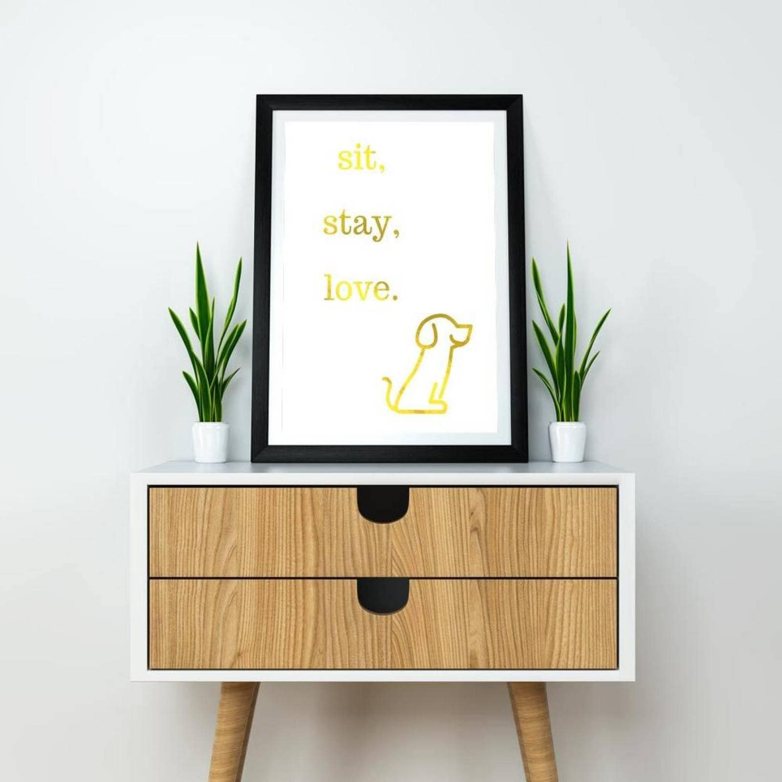 Poster Decorativo Sit stay love Negro y Dorado