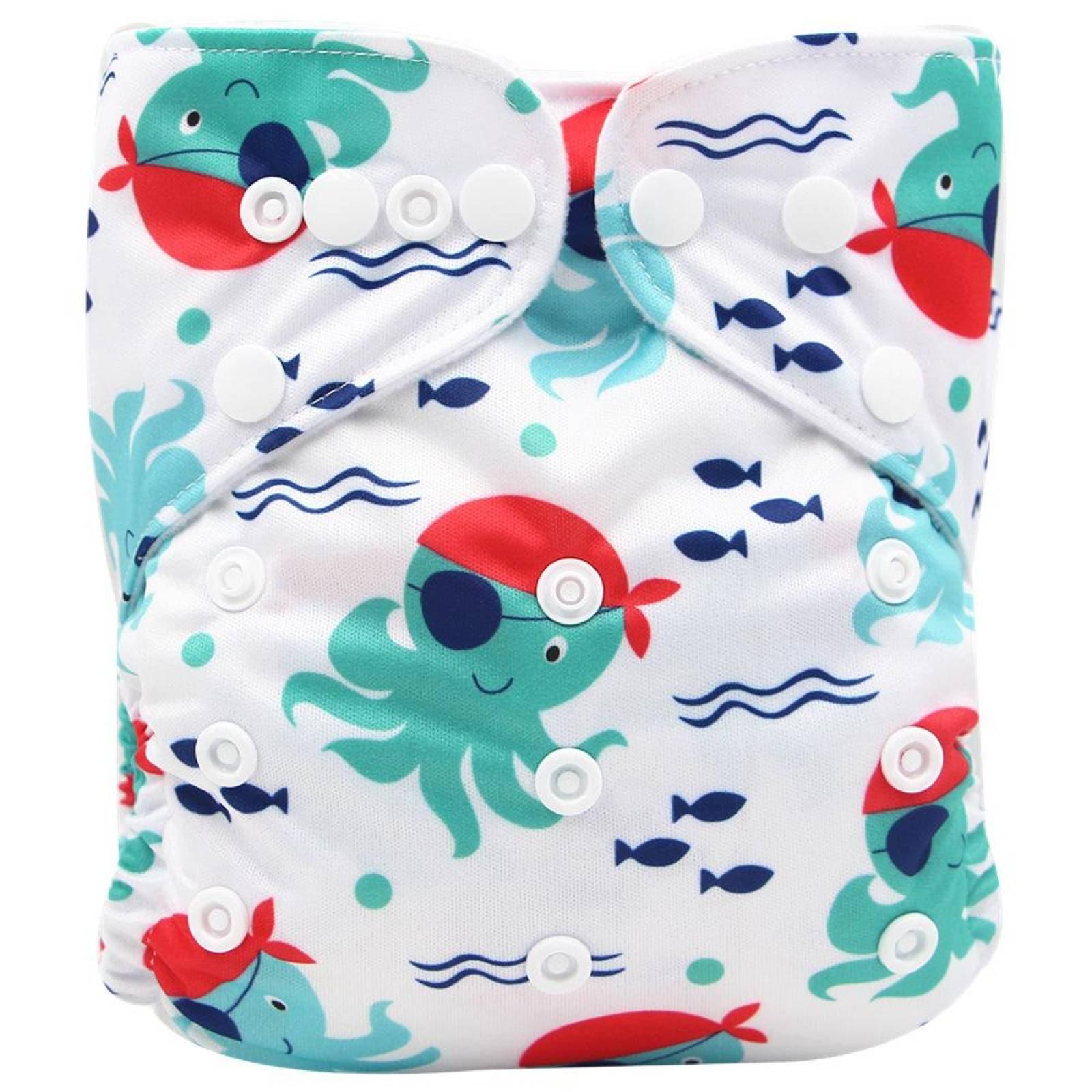 Pañal ecologico de tela reutilizable con Diseños 5 pañales 5 Insertos
