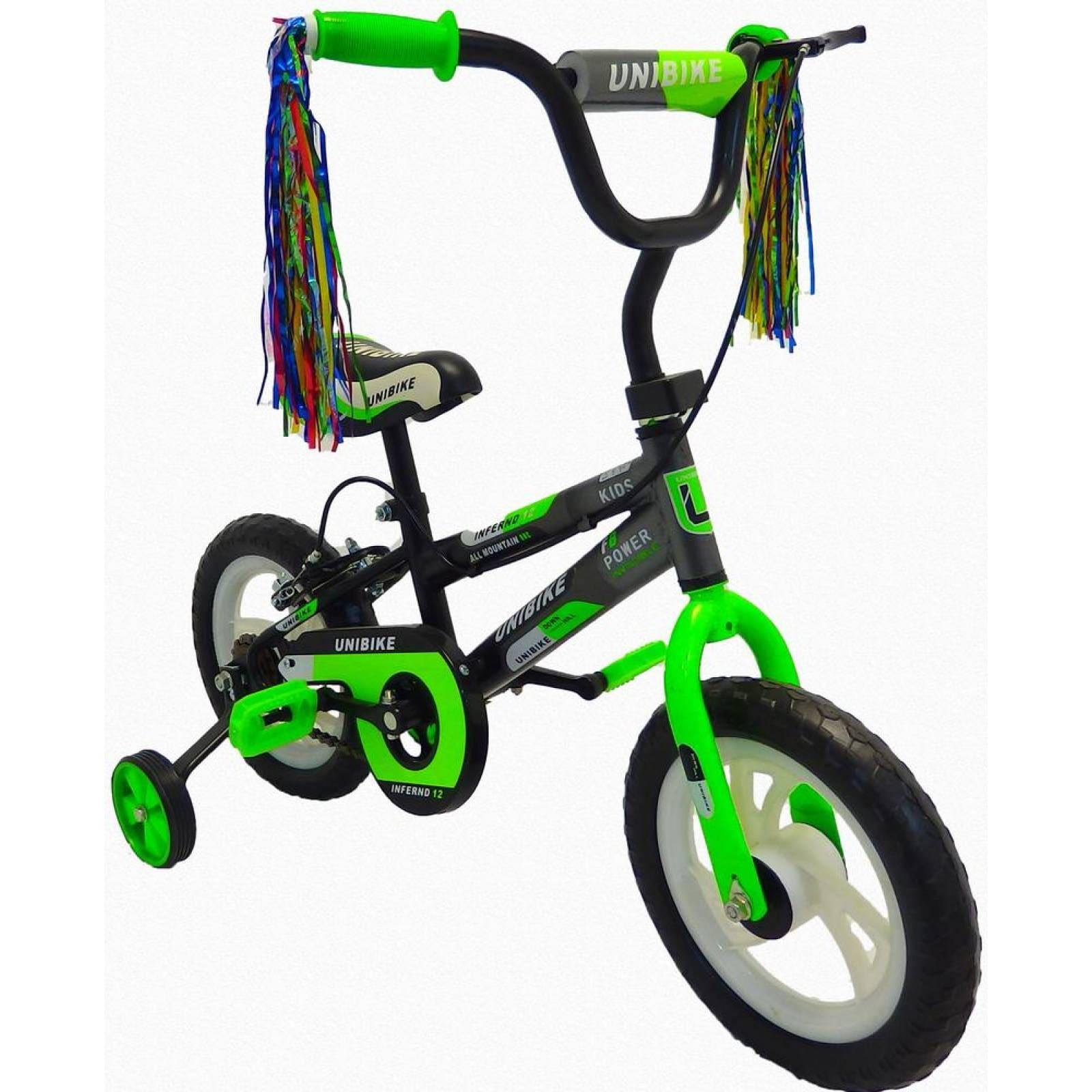 Bicicleta Infantil para niño Rodada 12 con llanta de goma VerdeNegro