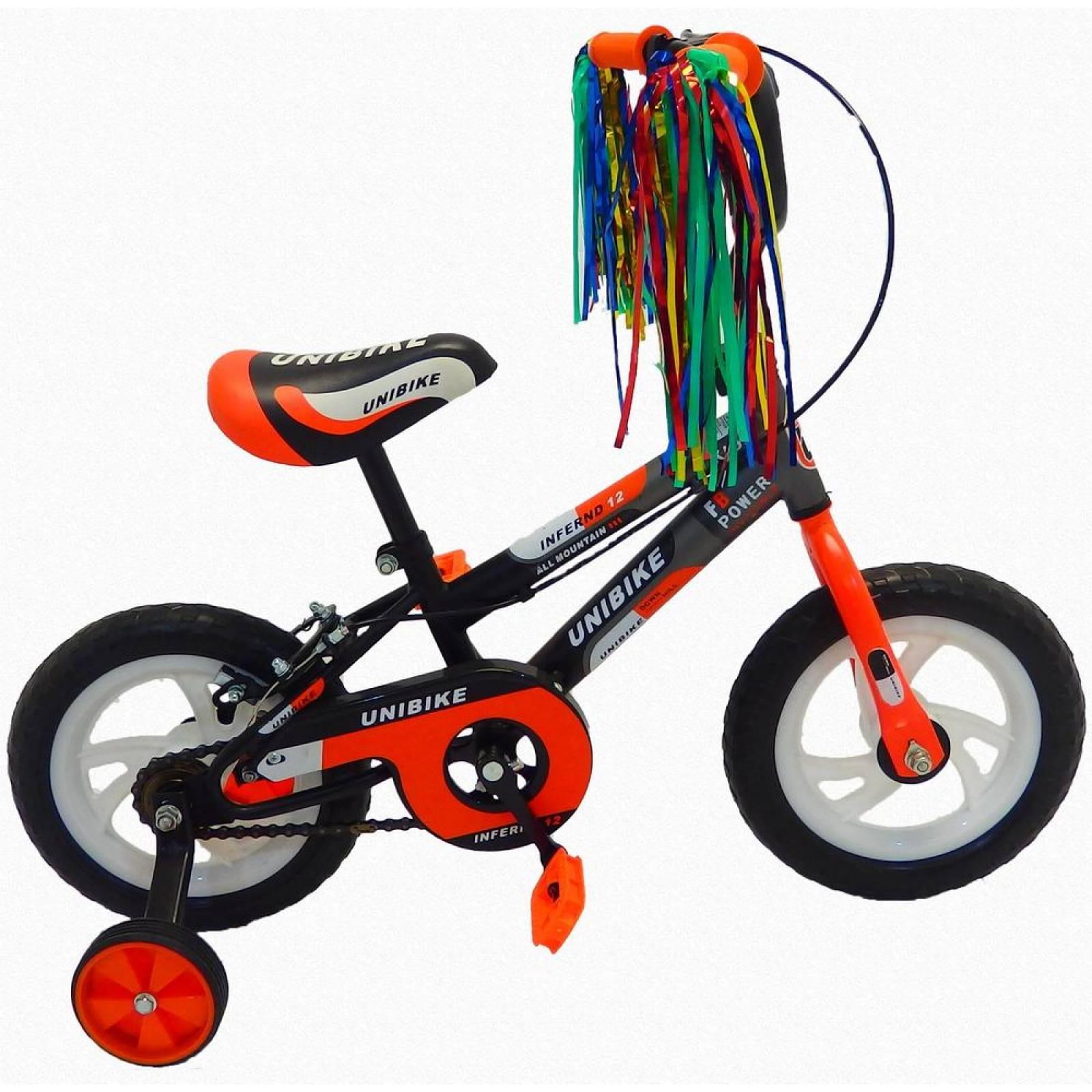 Bicicleta Infantil para niño Rodada 12 con llanta de goma NegroNaranja