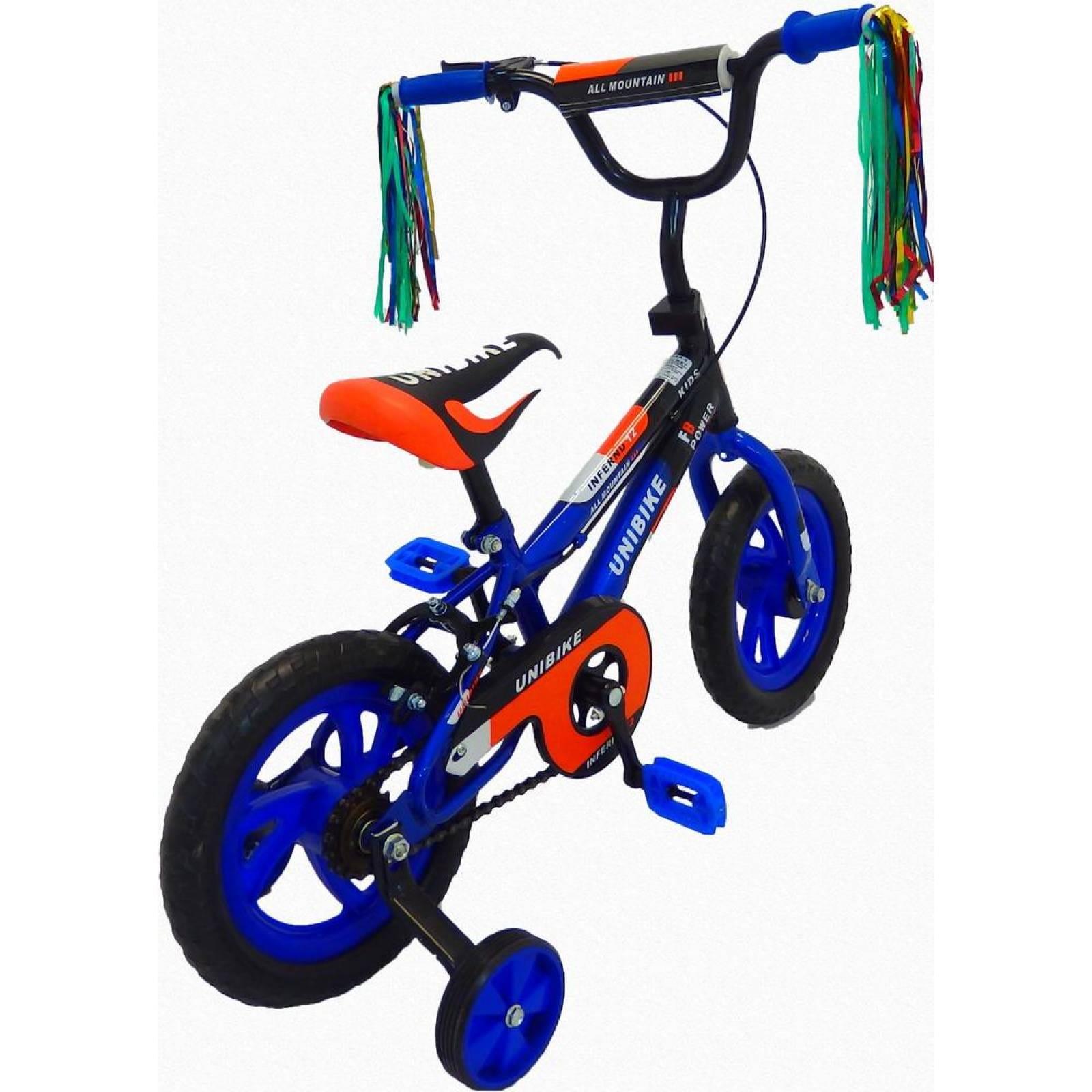 Bicicleta Infantil para niño Rodada 12 con llanta de goma NegroAzul