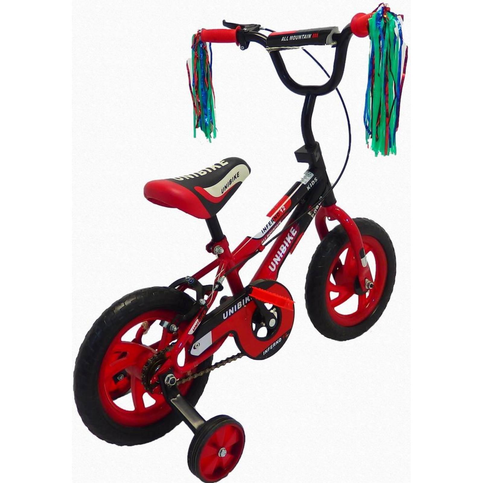 Bicicleta Infantil para niño Rodada 12 con llanta de goma Negro-Rojo
