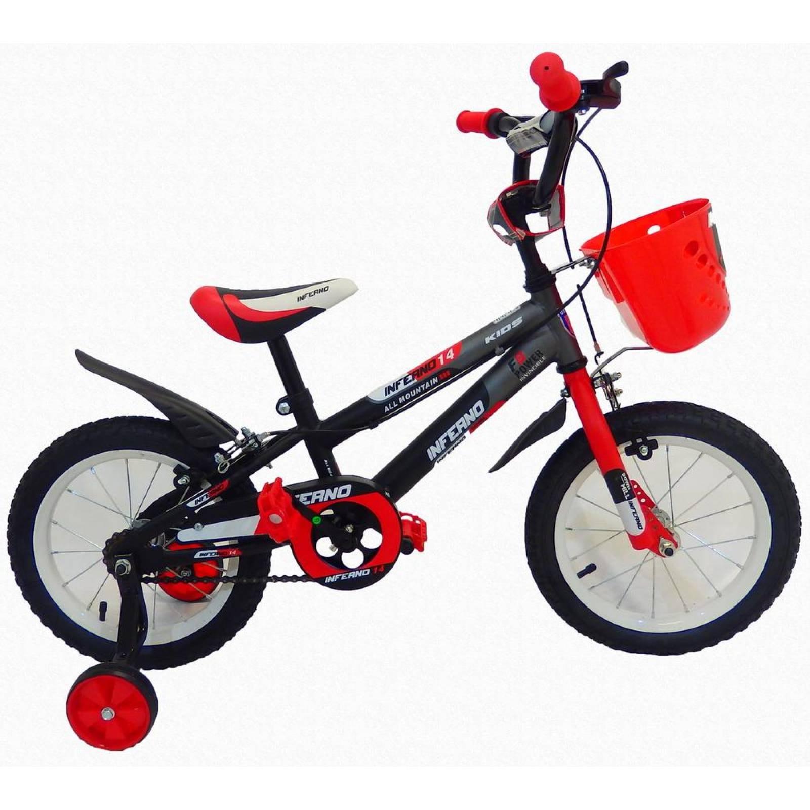 Bicicleta Infantil para niño rodada 14 NegroRojo
