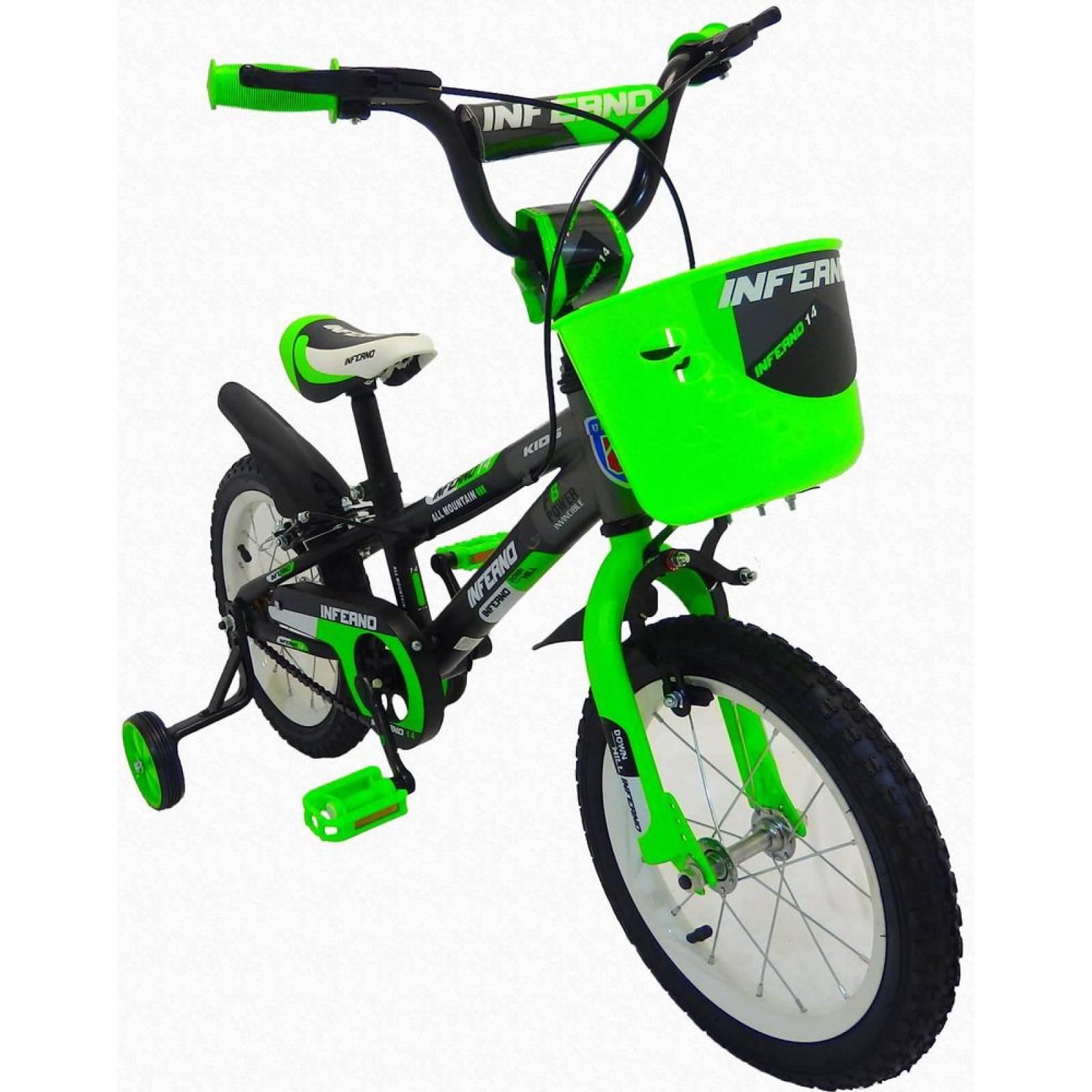 Bicicleta Infantil para niño rodada 14 NegroVerde