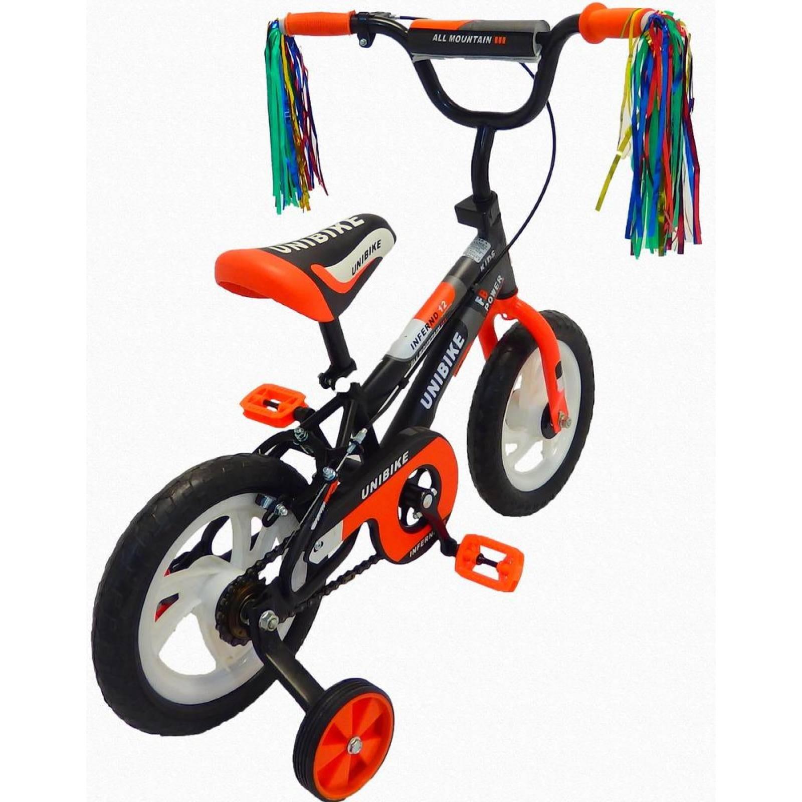 Bicicleta Infantil para niño Rodada 12 con llanta de goma Naranja