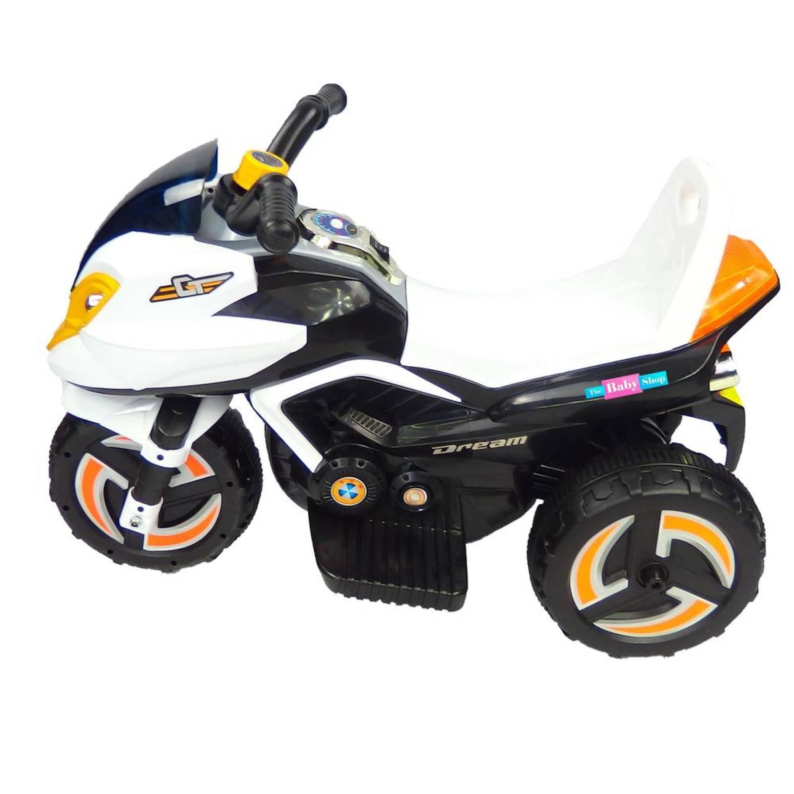 Moto Electrica Musical Infantil Montable LED 6V MSI 35 años Blanco
