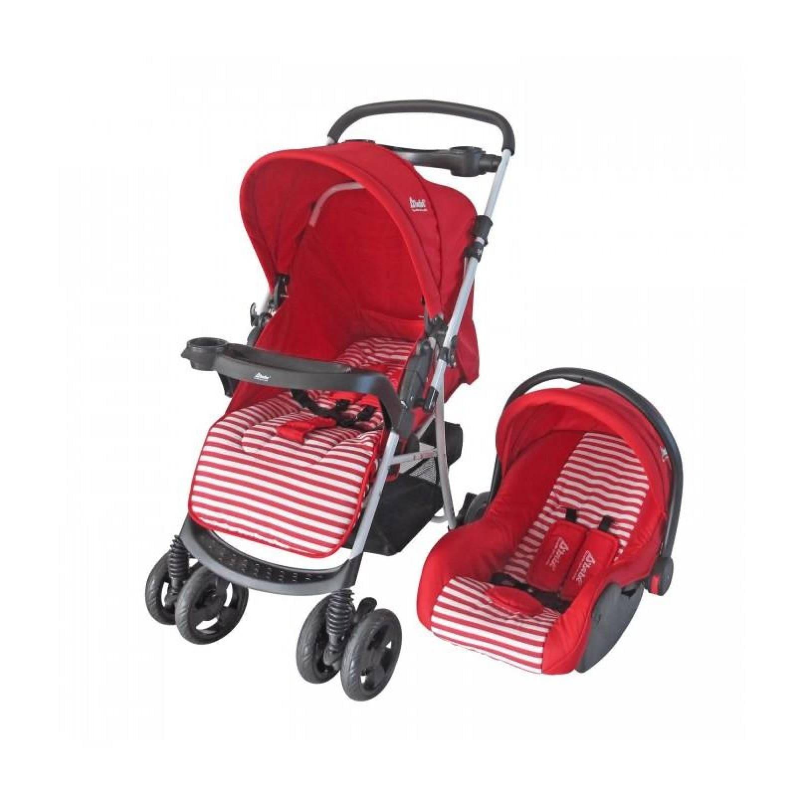 Carreolas con Portabebe Travel System Stripes Azul Rosa Rojo