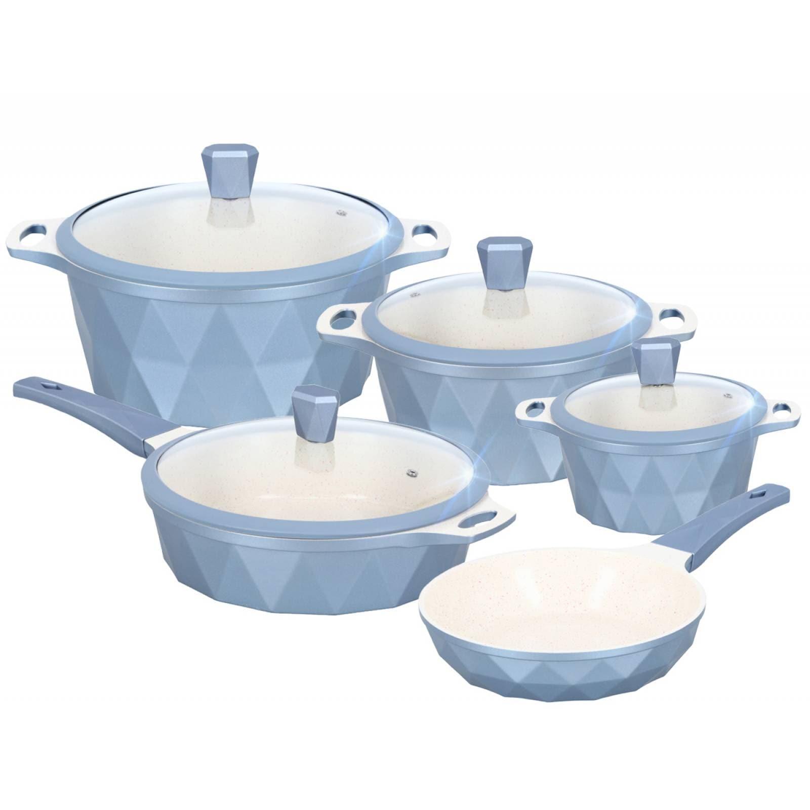 Batería de Cocina Set 9 pzas Mármol Antiadherente Serenity Azul
