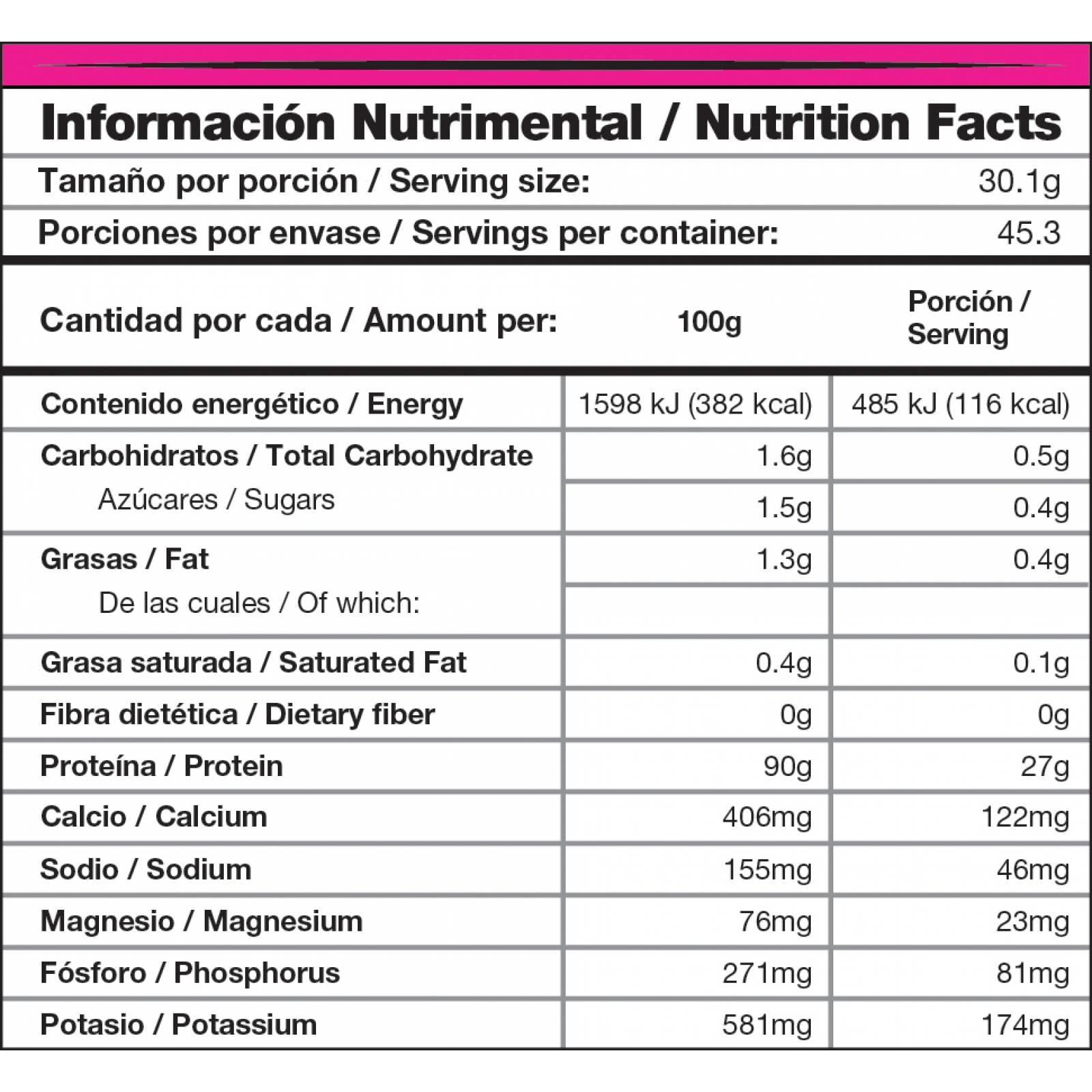 Proteina Mdn Whey Ner Isolate 1300 Gramos - 45 Porciones Sabor Vainilla