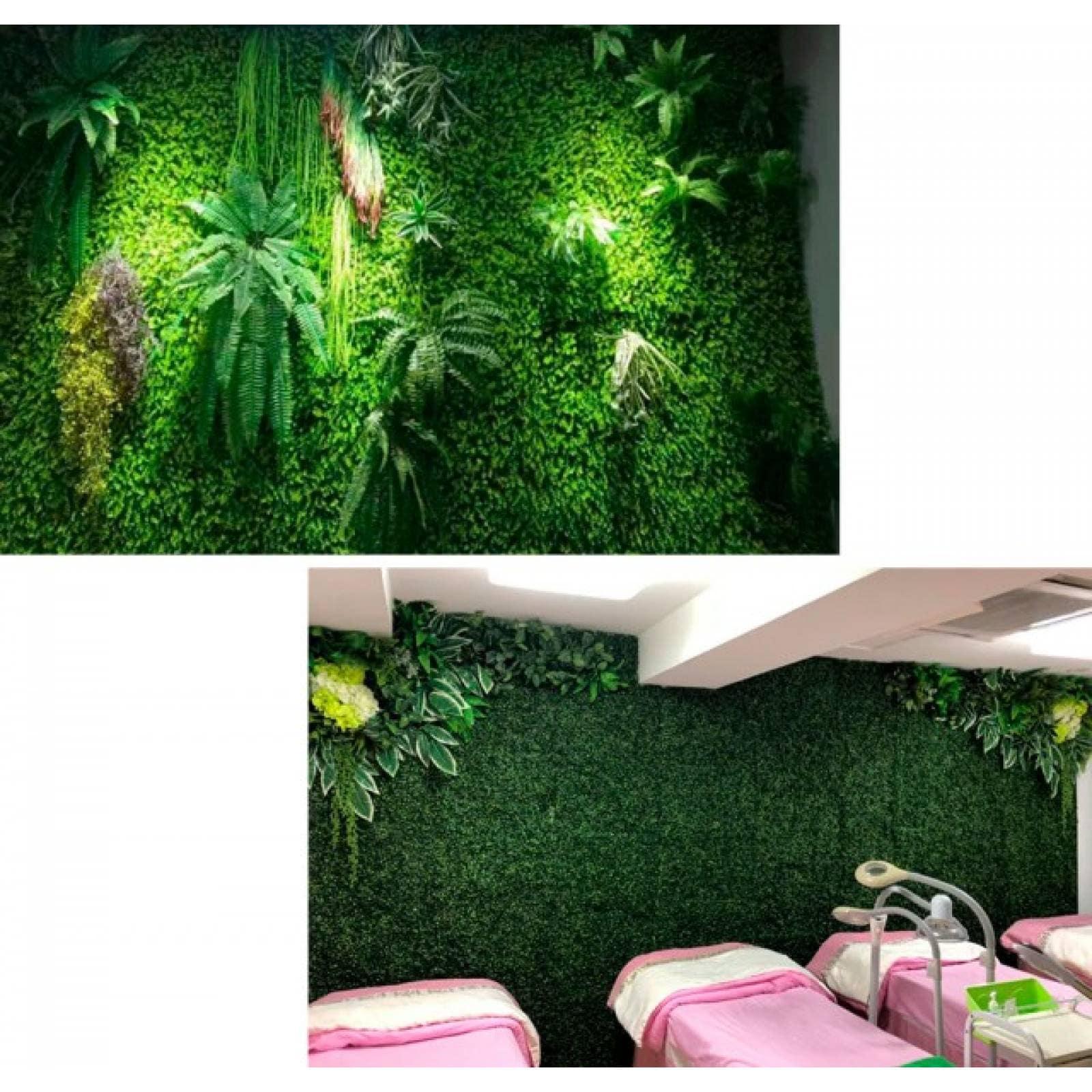 Follaje artificial 40x60 cm muro verde 50 piezas modelo jardín