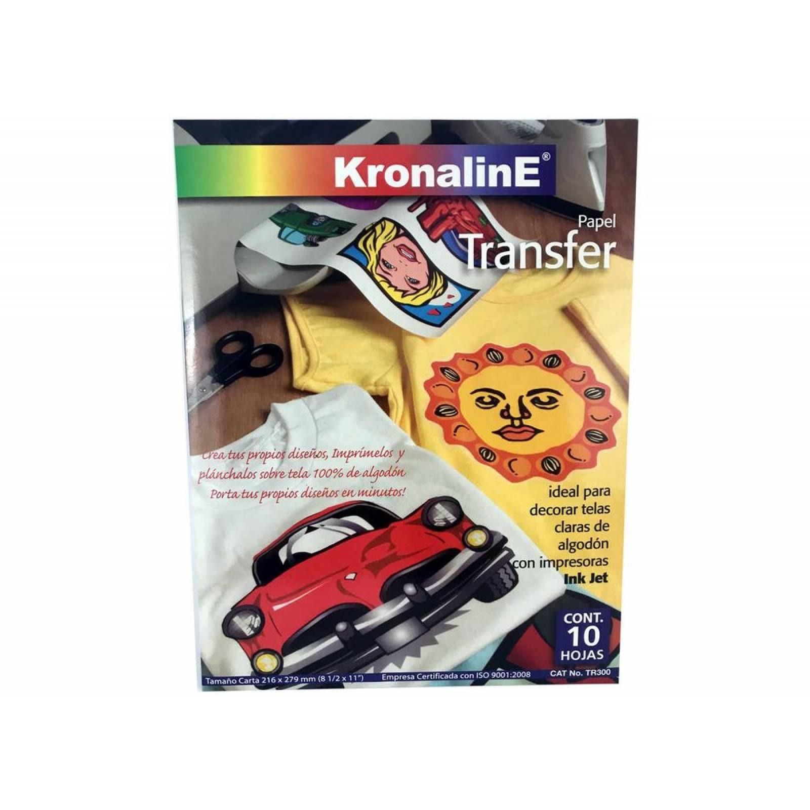 Papel Transfer KronalinE Tr305 10h Carta Tela obscura inkjet