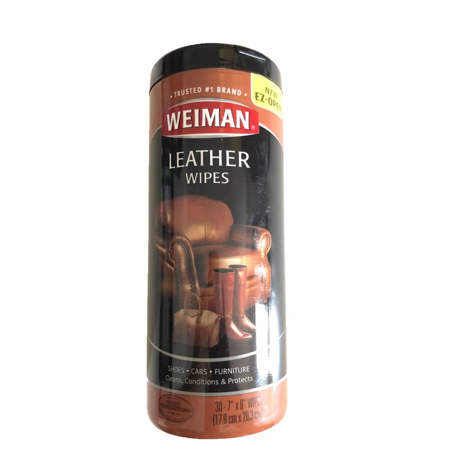 Weiman, Toallitas humedas para la limpieza, acondicionamiento y protección de pieles, sirve para autos, muebles y calzado de cuero, piel. 30 piezas.
