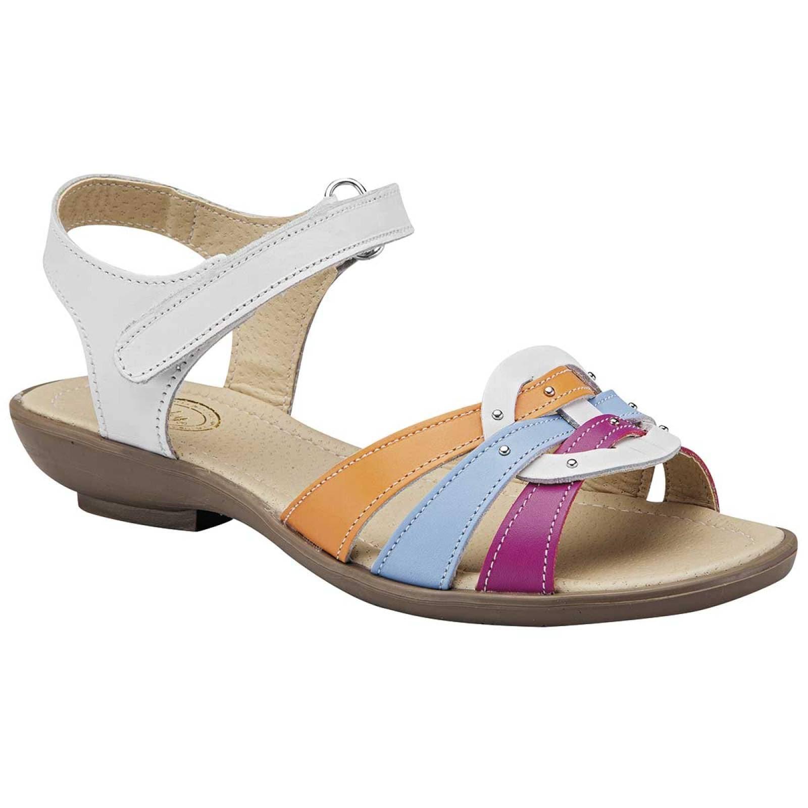Faby Sandalia Mujer Blanco multicolor