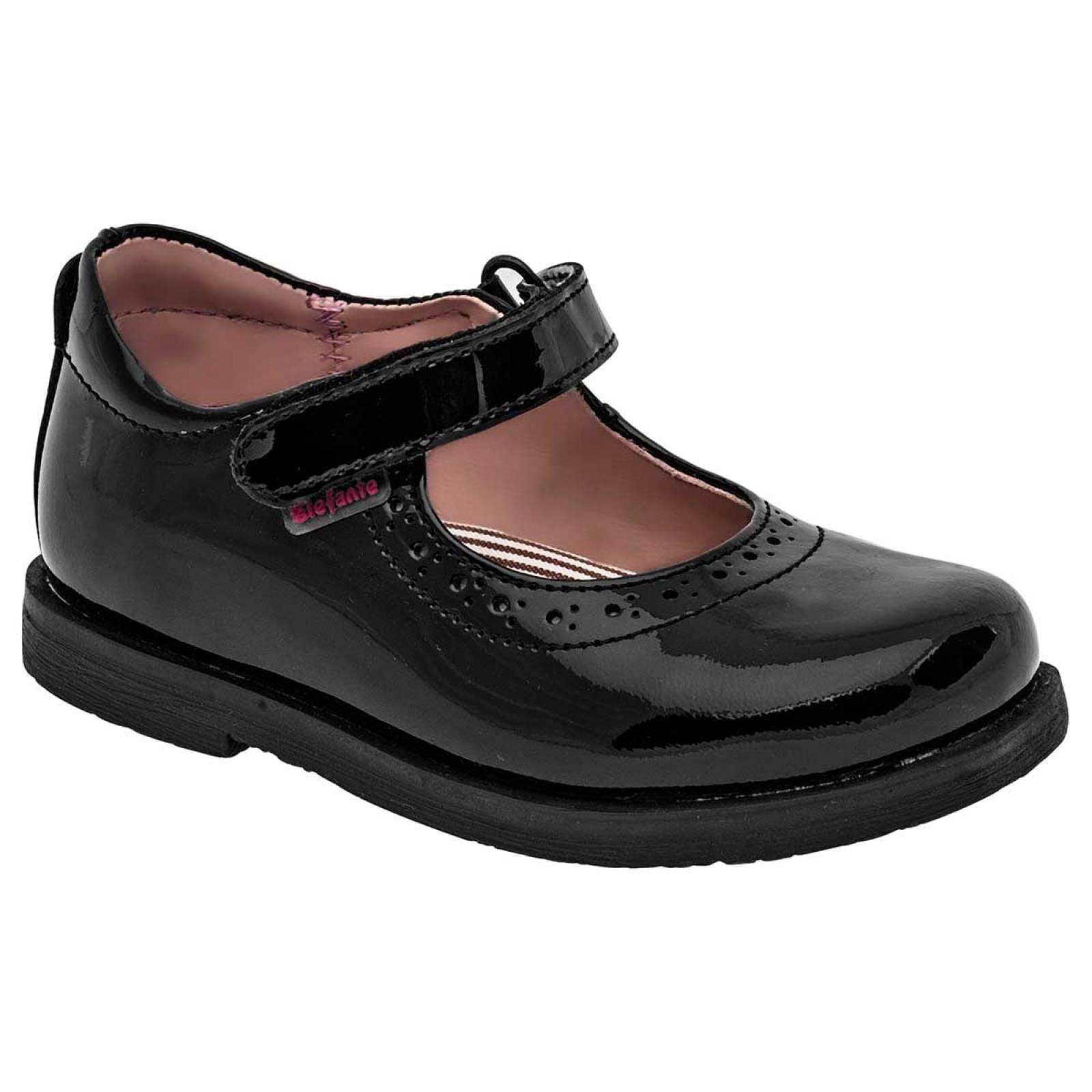 Elefante Zapato Niña Negro charol