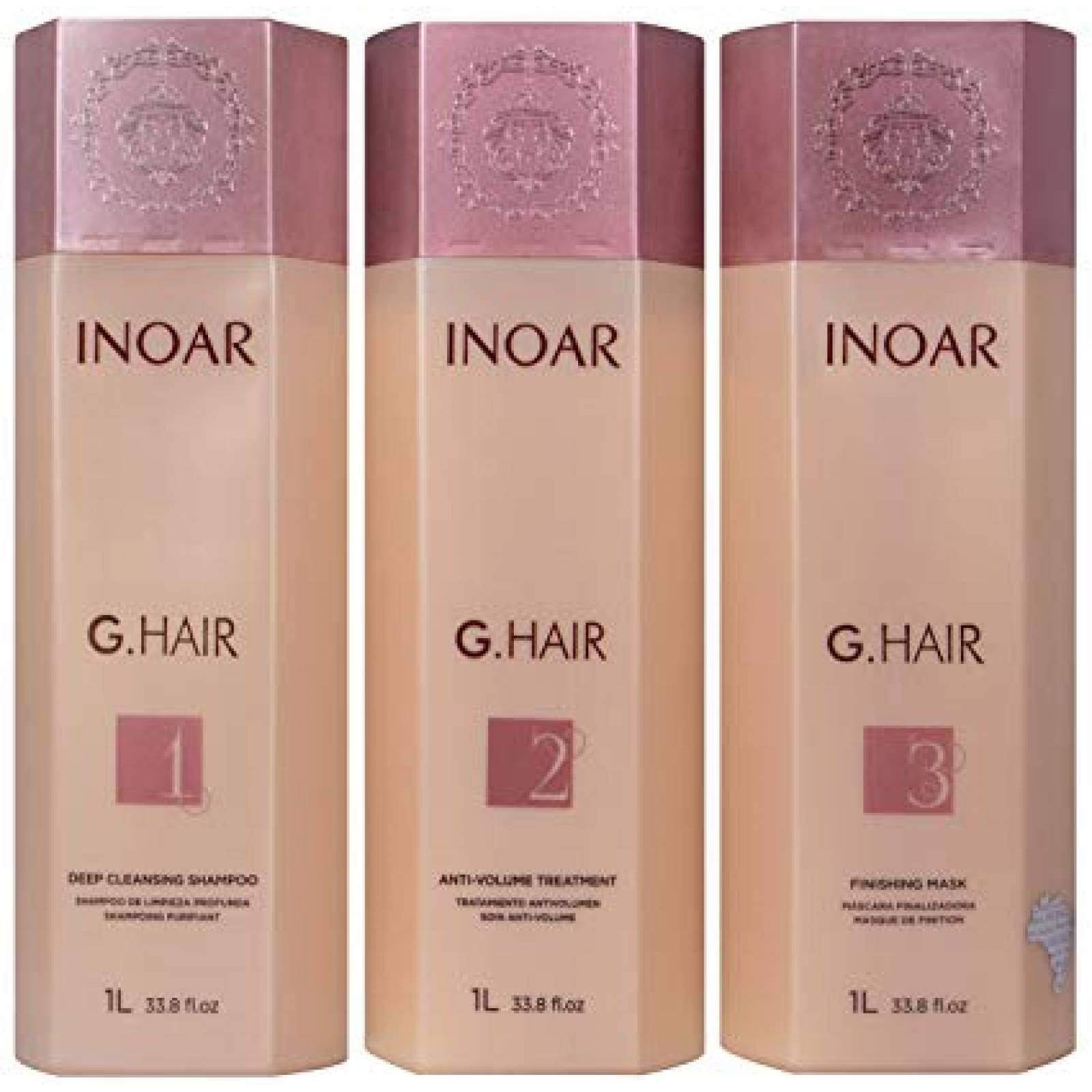 Kit Keratina Alemana 3 pasos Inoar G Hair 1 lt. Shampoo, Anti Volumen y mascara finalizadora