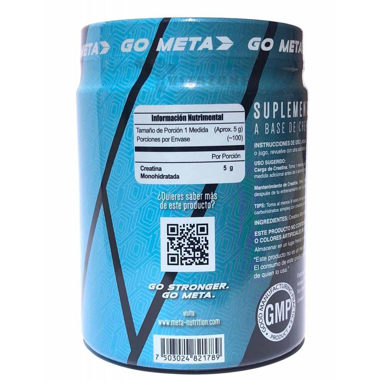 Creatina Monohidrato Meta Nutrition 500 G 100 Porciones