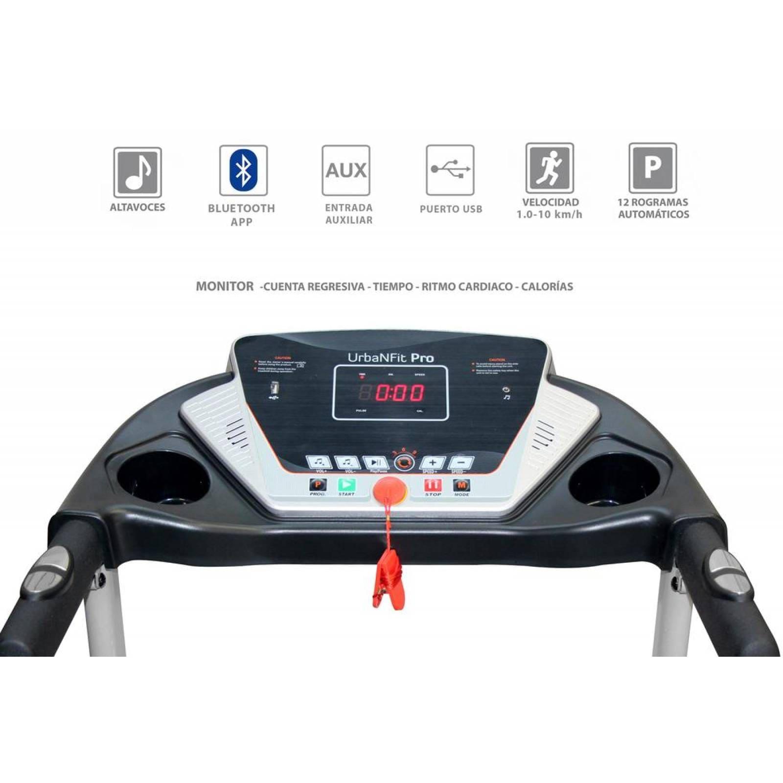 Caminadora Electrica 1.75HP + bocinas + App Bluetooth Negro