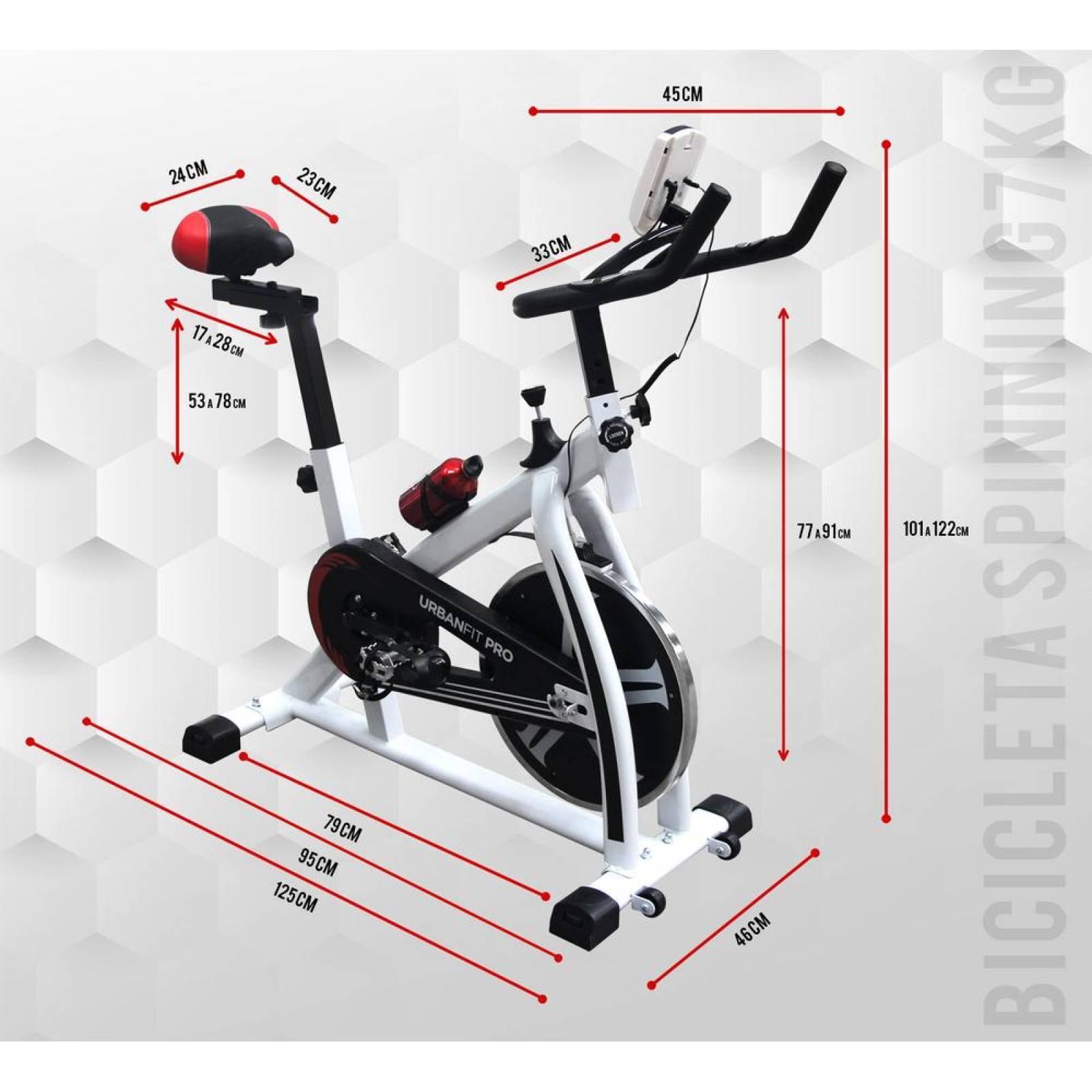 Bicicleta Spinning Fija UrbaNfit 7kilos Hogar Fitness Cardio Blanco